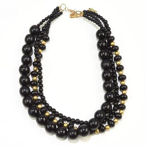 Black and Brass 3 Strand Necklace