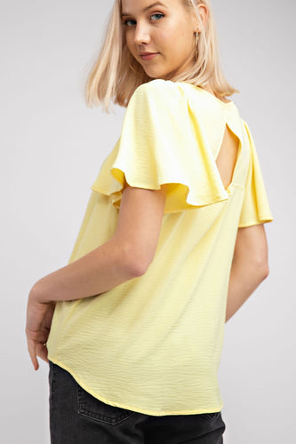 Key-hole Back Short Sleeve Top