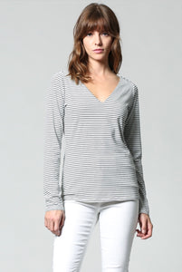 Striped top with detail on back