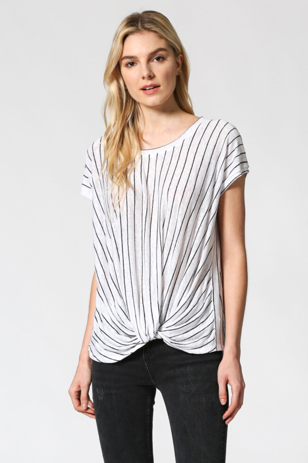 Striped top with twisted front