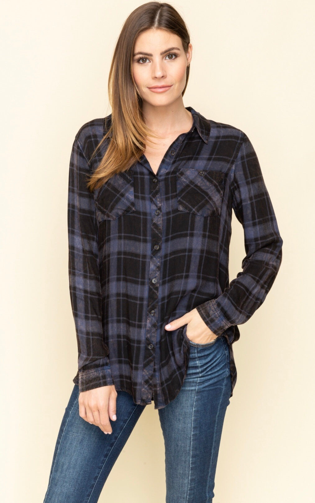 Navy/Black Plaid Shirt