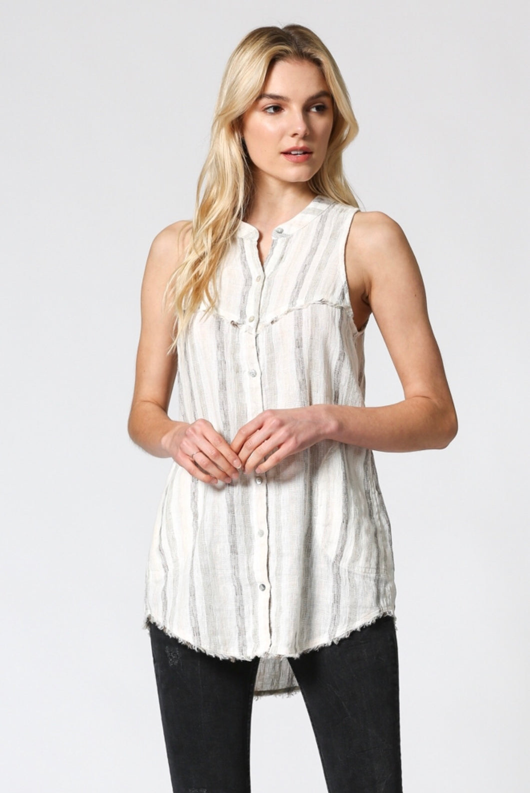 Sleeveless striped linen top
