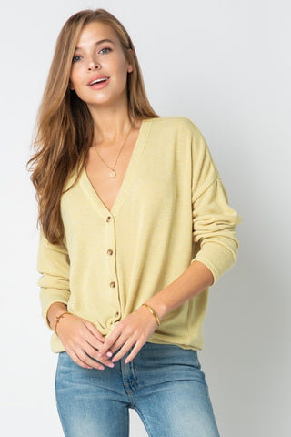 Cozy Button Cardigan - Light Mustard
