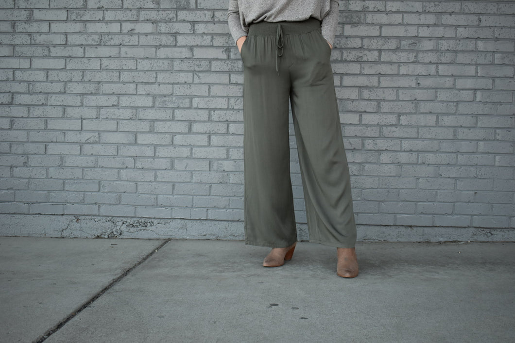 Smocked Wide Length Pants