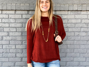 Off Shoulder Tunic Top - Wine