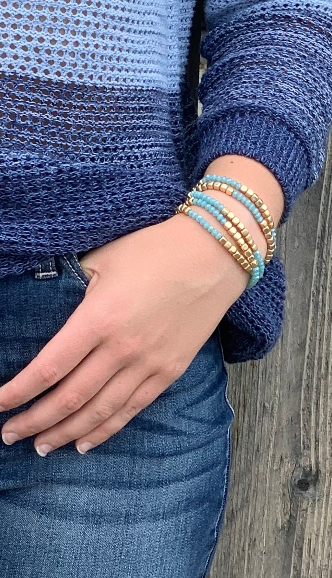 Gold and turquoise layering bracelet
