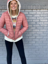 Load image into Gallery viewer, Mauve Sherpa Lined Reversible Puffer Jacket - Small Only