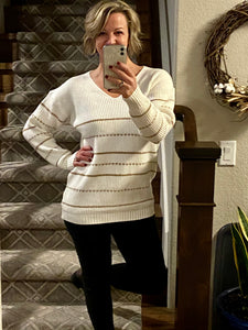 Gold and Ivory Knit Sweater