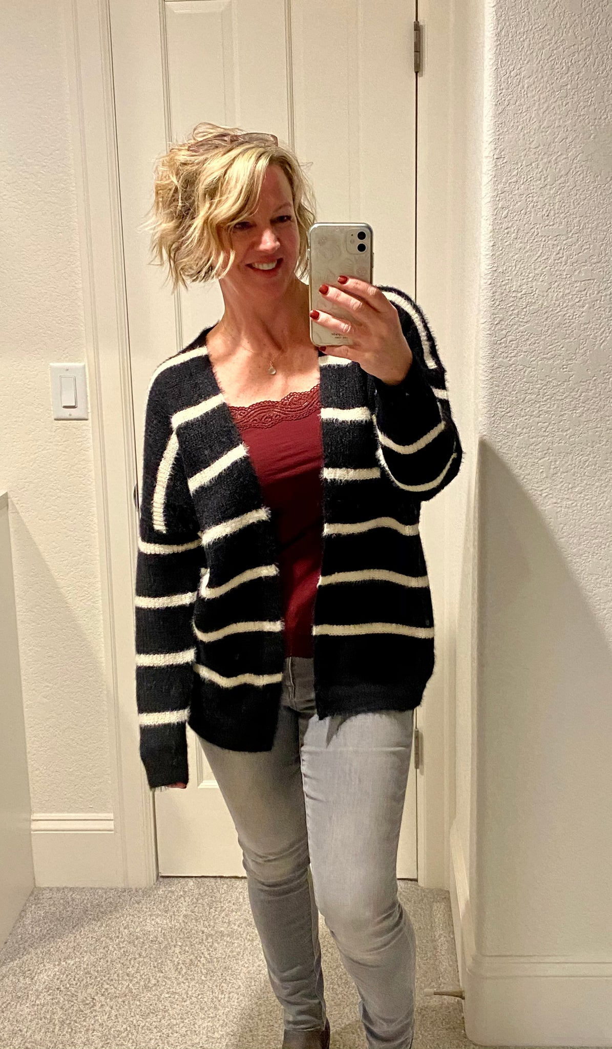 Striped Fuzzy Cardigan