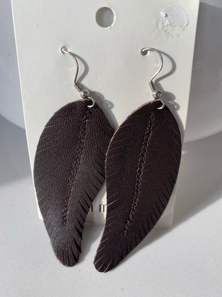 Leather Feather Earrings - Brown and Black