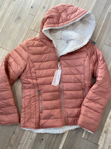 Mauve Sherpa Lined Reversible Puffer Jacket - Small Only