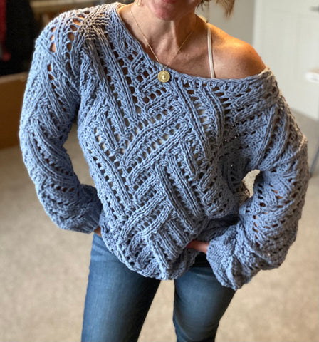 Cable Periwinkle Blue Sweater