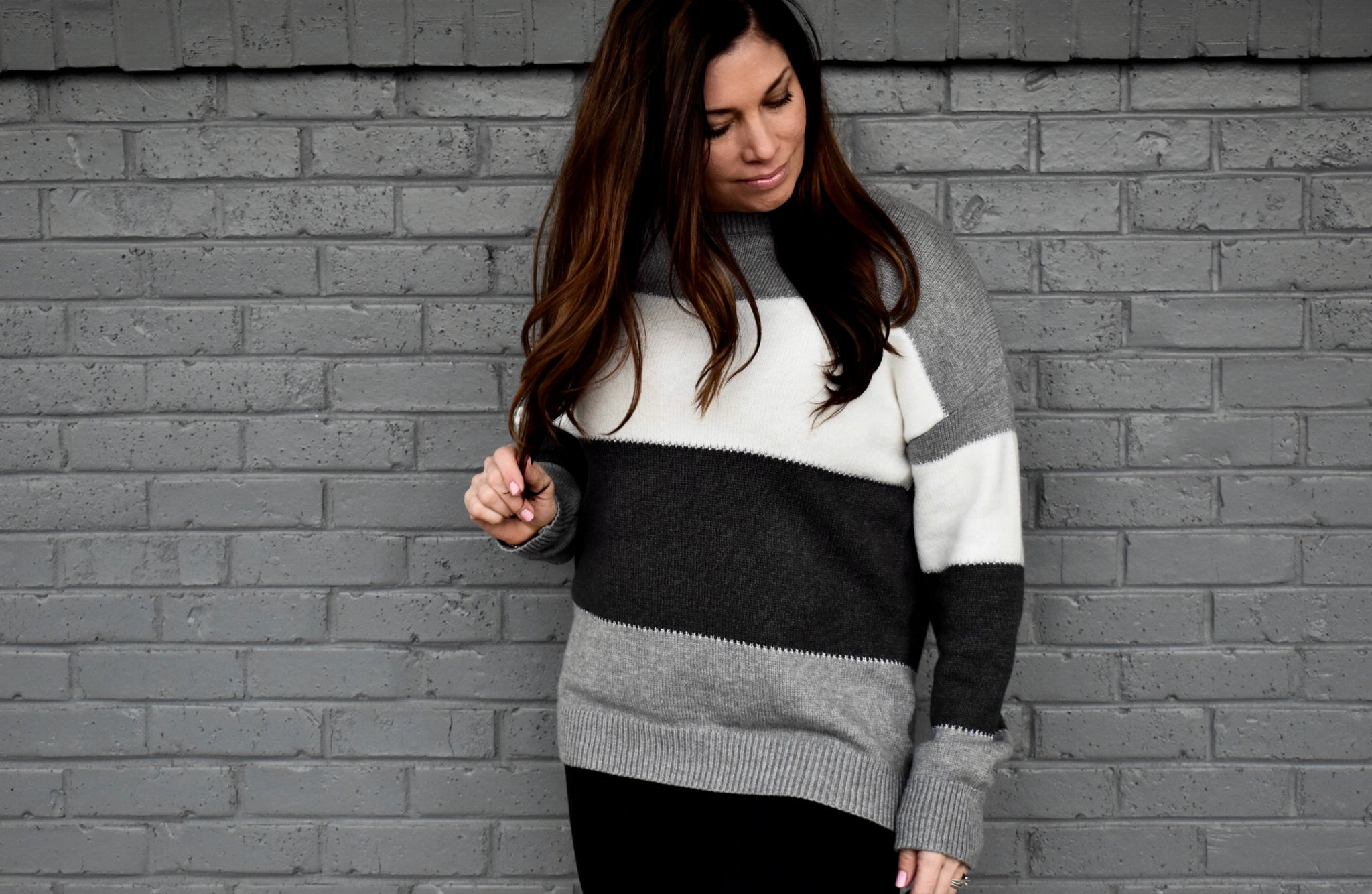 Loose Fit Block Sweater - One Large Left