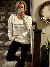 Load image into Gallery viewer, Gold and Ivory Knit Sweater