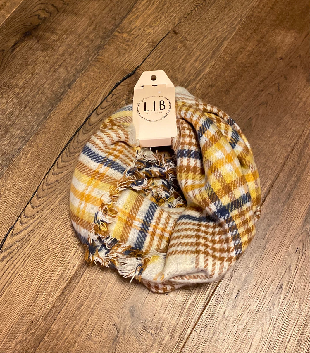 Gold and Blue Plaid Infinity Scarf