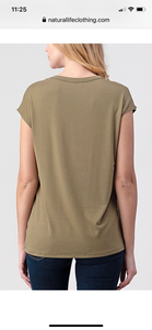 Natural Life Good Vibes Top - Light Olive