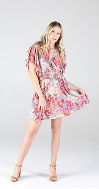 Floral Smocked Waist Flutter Sleeve Dress