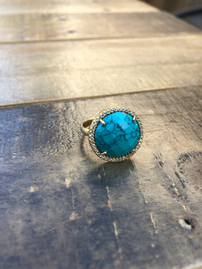 Turquoise and Gold Large Stone Ring