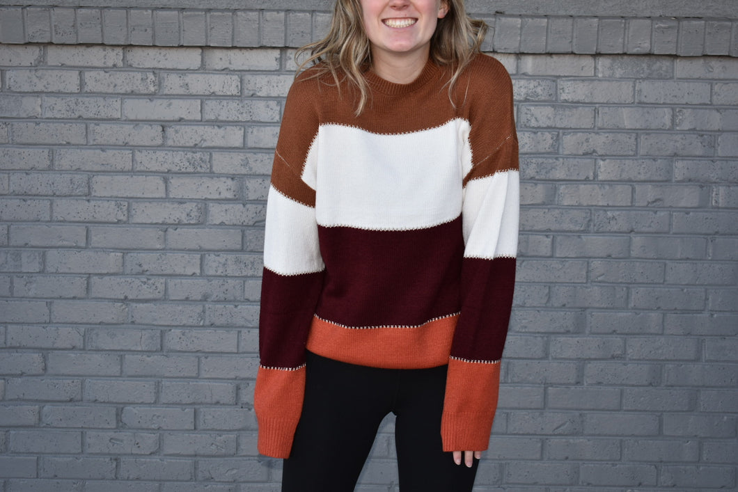 Loose Fit Block Sweater - Warm Colors