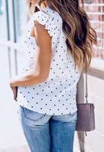 Load image into Gallery viewer, Ruffle Sleeve White Polka Dot Blouse - One Large Left