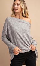 Load image into Gallery viewer, Off Shoulder Tunic Top- Heather Grey