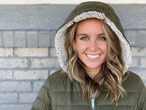 Olive Sherpa Lined Puffer Jacket - One Small Only