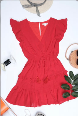 Red Ruffled Tie Waist Dress