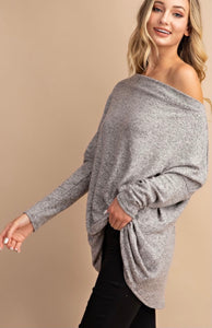Off Shoulder Tunic Top- Heather Grey