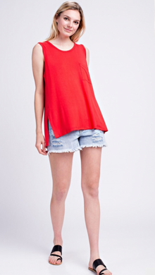 Bamboo Fabric Top - Tomato Red