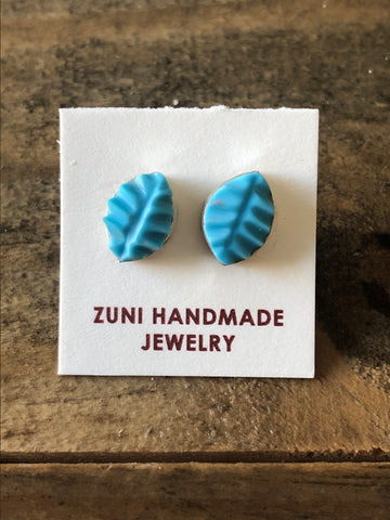 Turquoise Carved Stud Earrings