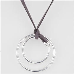Circle Necklace with Grey Suede