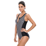 Strips Sporty Zip Front Swimsuit