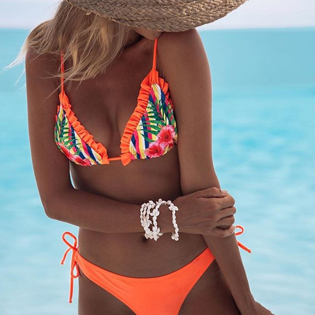 Ruffle Shoulder Bikini Set
