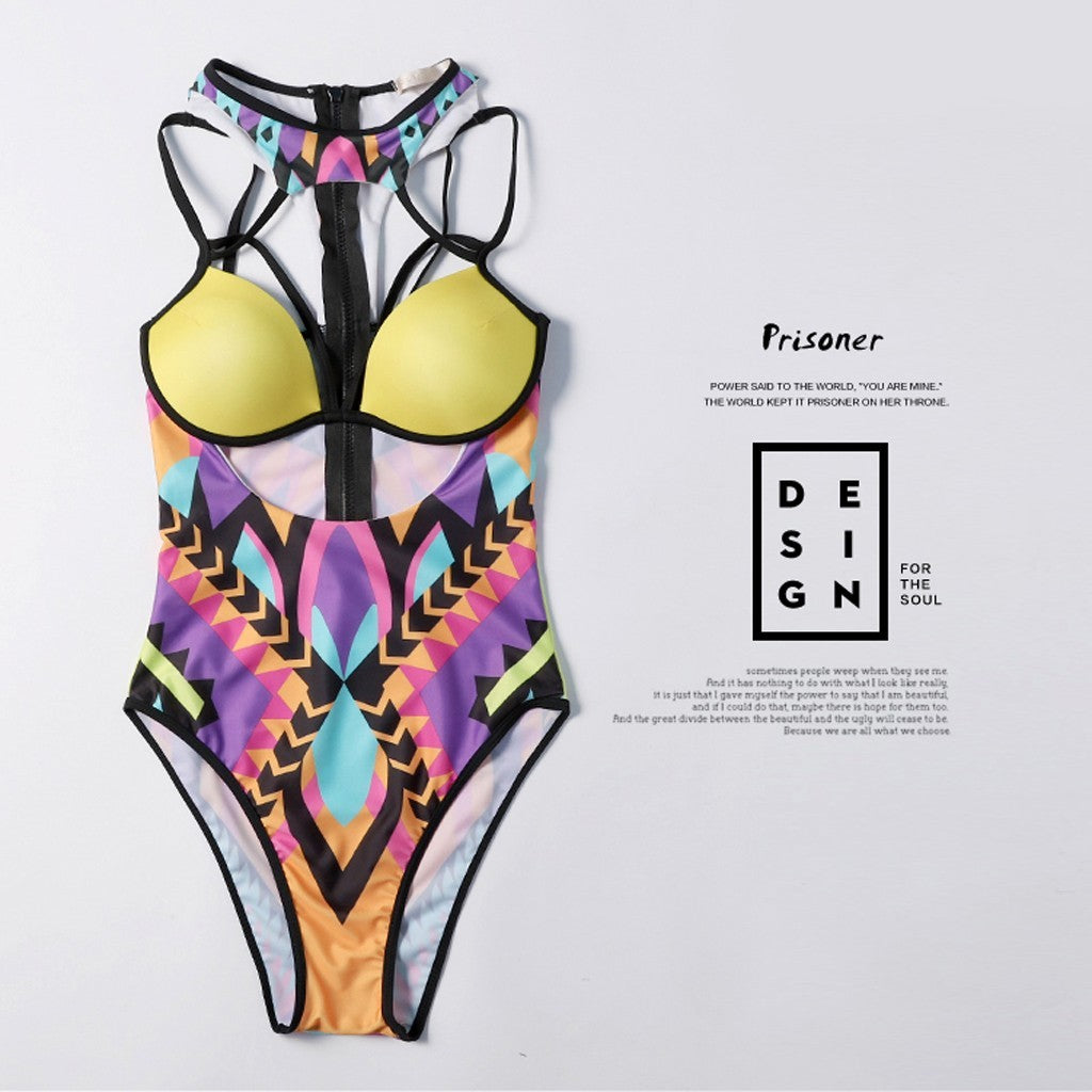 Top Print Split Swimsuit