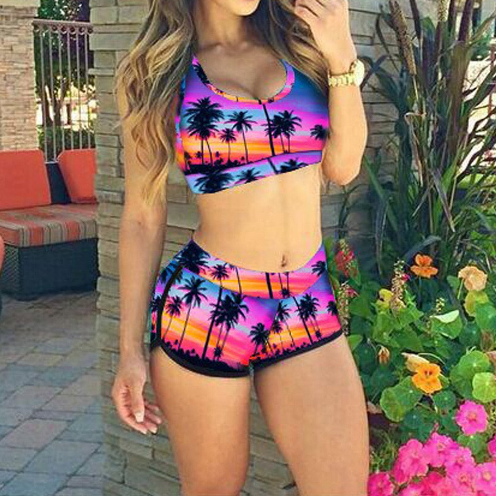 Coconut Tree Printed Bikinis Set