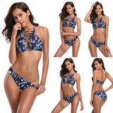 Strap Low Waist Print Bikini Suits