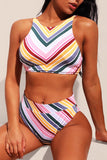 Candy Color Striped High Waist Bikini