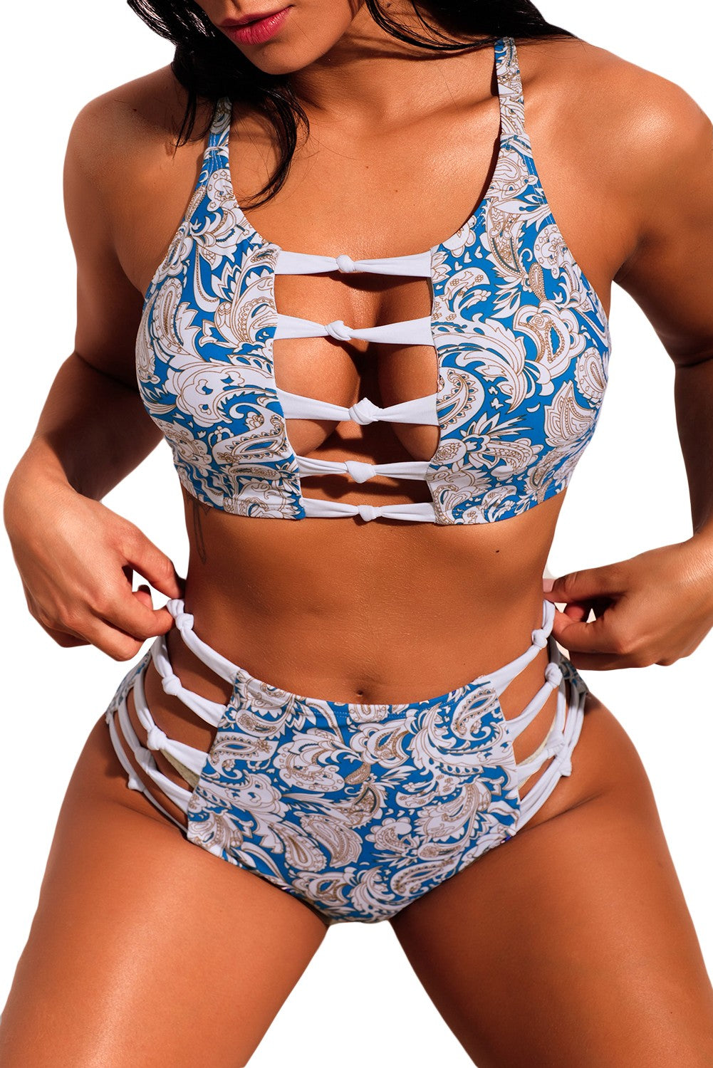 Print High Waist Bikini Swimsuit