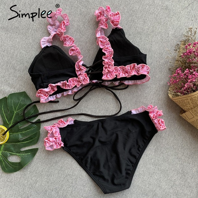 Ruffled lace up women swimwear
