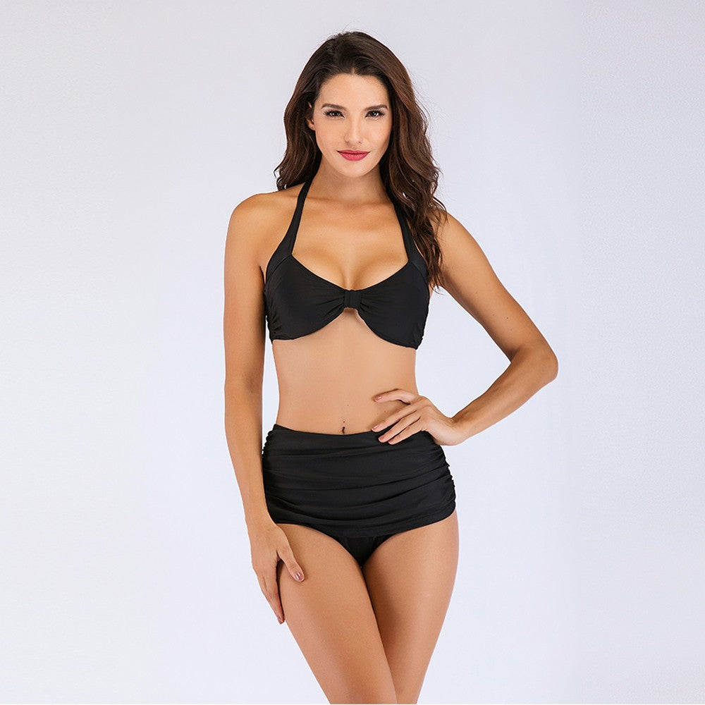 Gather High Waist Split Bikini