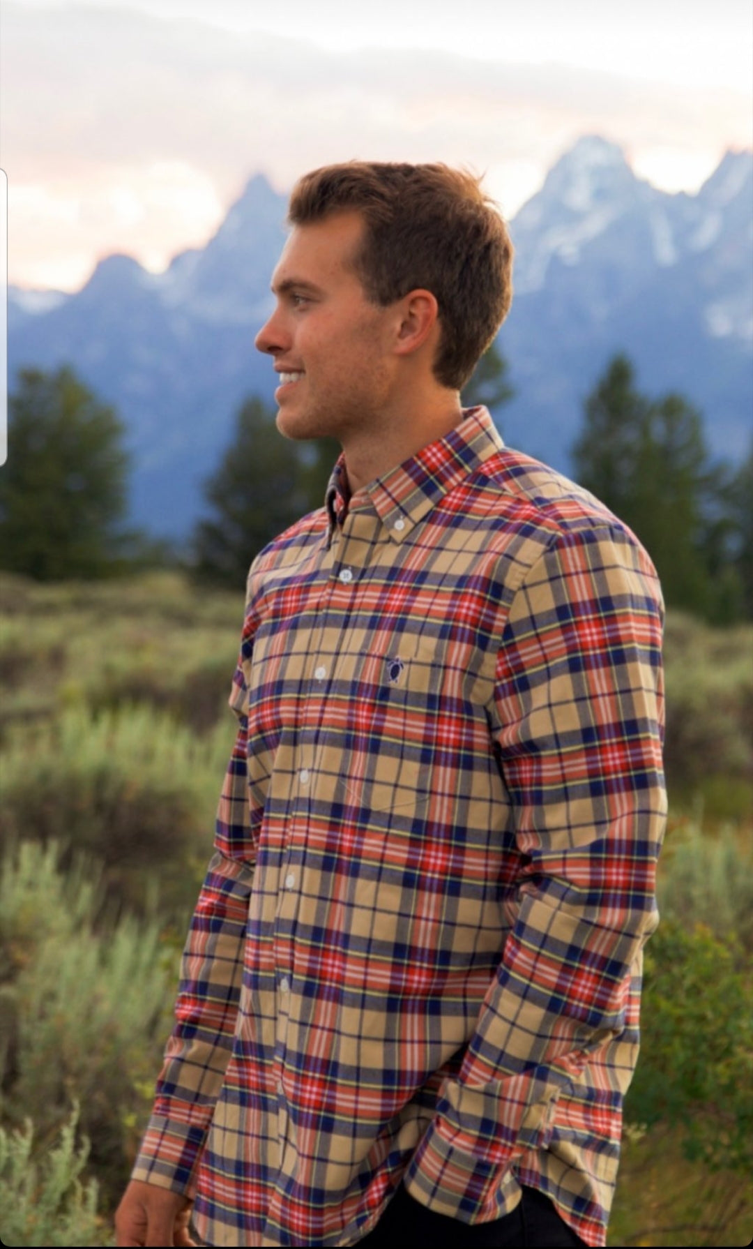 Simply Southern Longsleeve Parker Oxford Tan Blue RedPlaid
