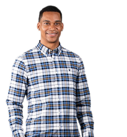 Simply Southern Longsleeve Parker Oxford White Blue Plaid