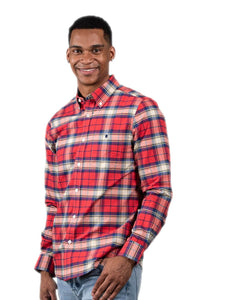 Simply Southern Longsleeve Parker Oxford Red Tan Blue Plaid
