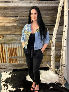 REDONE POCKETED LEOPARD DISTRESSED DENIM JACKET