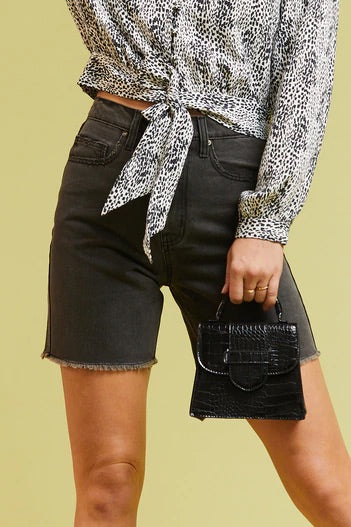 Velvet Heart Hillary Dark Stone High-Rise Denim Shorts