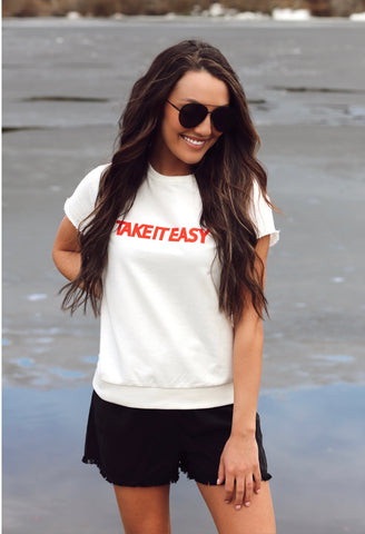 Take It Easy Cap Sleeve Sweatshirt
