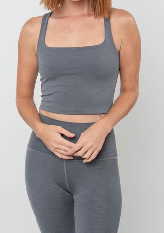 Beyond Yoga Heather Rib Keep It Simple Cropped Tank