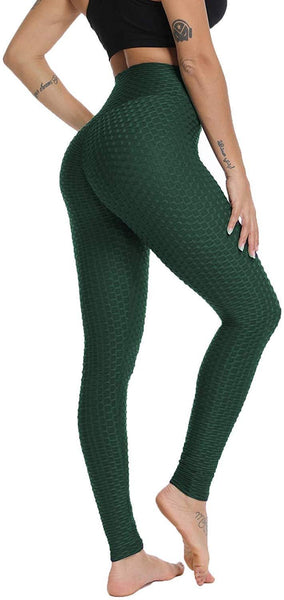 TikTok Honeycomb Textured Scrunch Booty Leggings-Dark Green
