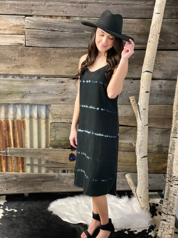 Velvet Heart Merlyn Black White Stripe Tie Dye Midi Dress