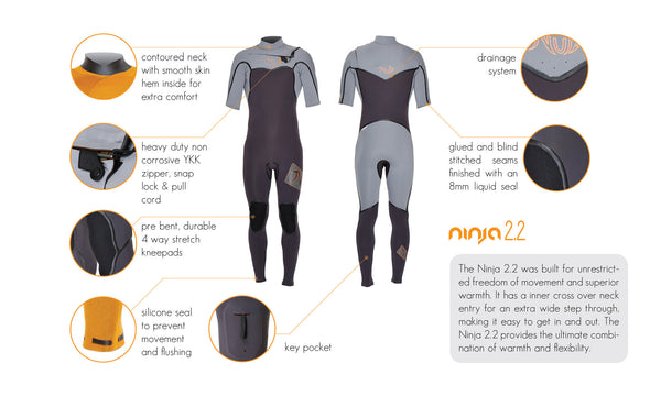Boys Ninja 2mm Short Sleeve Wetsuit - Nutz Life - 9